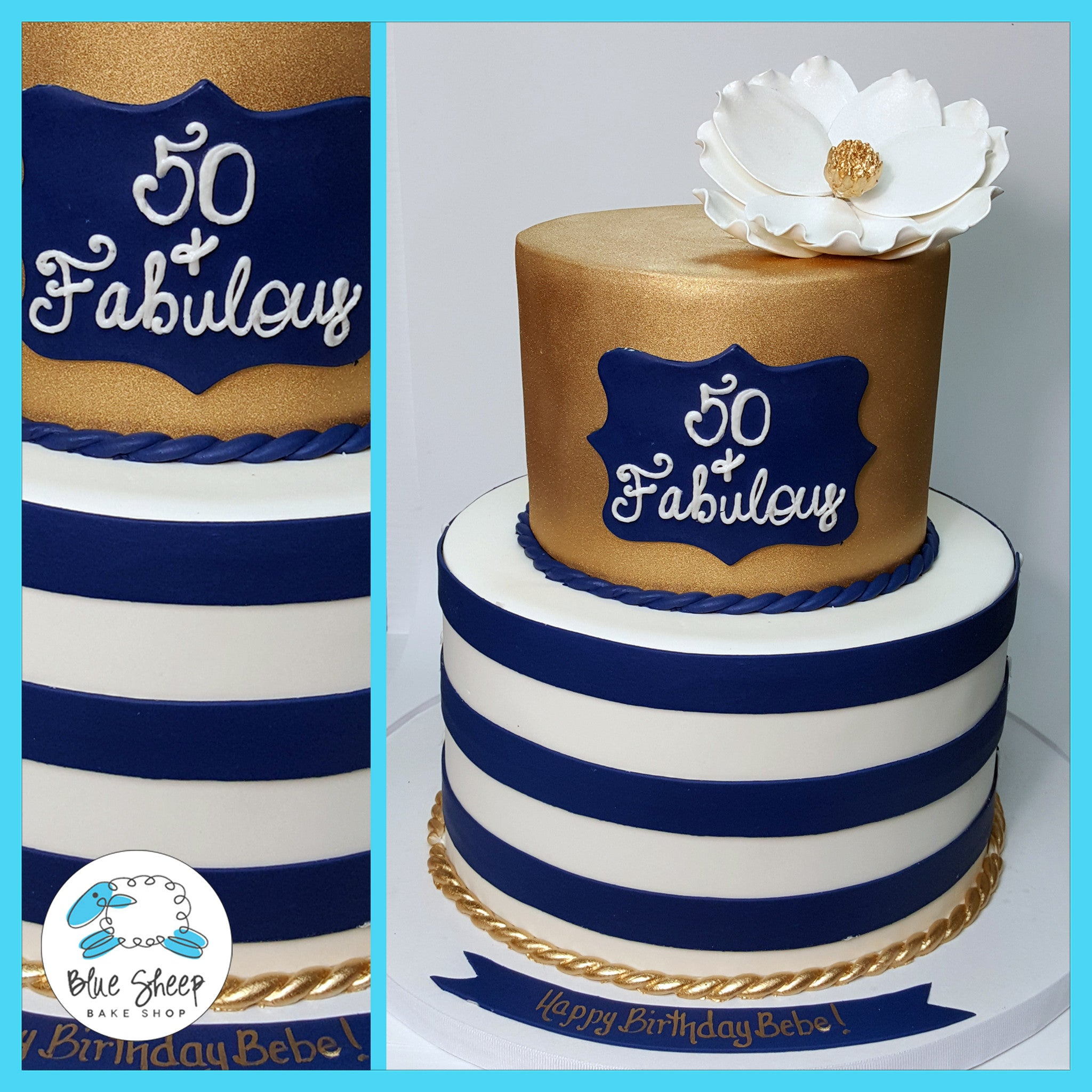 Navy and Gold 50 and Fabulous Birthday Cake Blue Sheep Bake Shop