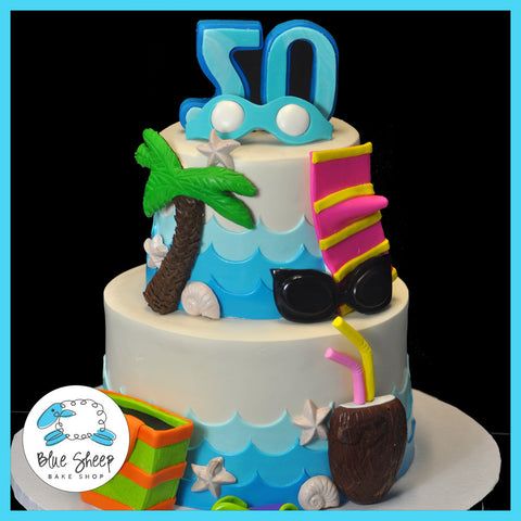 50th Birthday Beach Cake