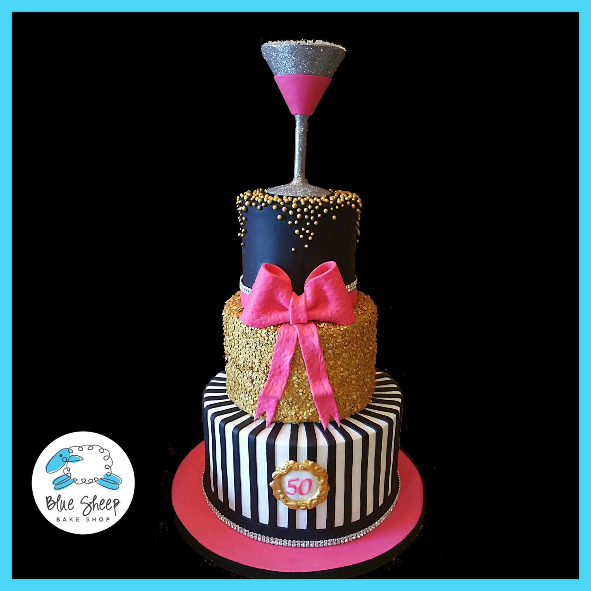 Pink Back And Gold Fondant 50th Birthday Cake