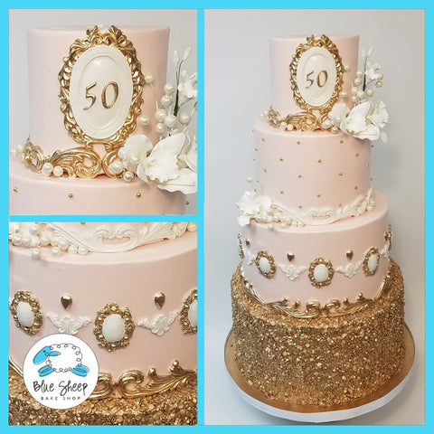 pink and gold princess cake nj