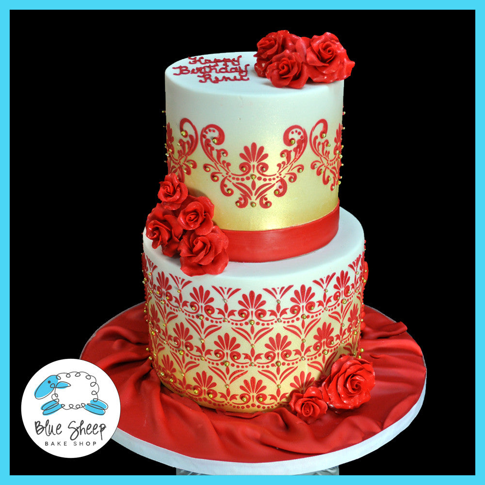 Tremendous Red And Gold 50Th Birthday Cake Blue Sheep Bake Shop Funny Birthday Cards Online Aeocydamsfinfo