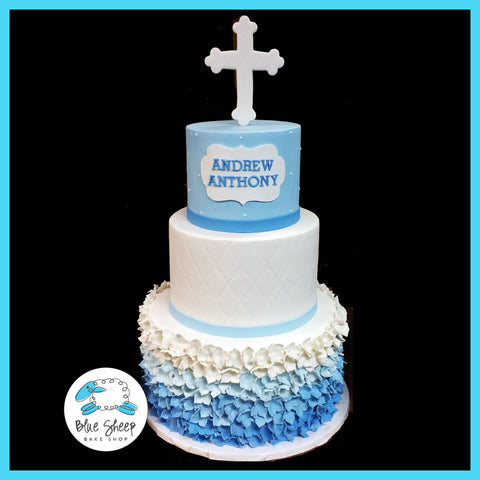 blue ombre confirmation cake nj christening cake