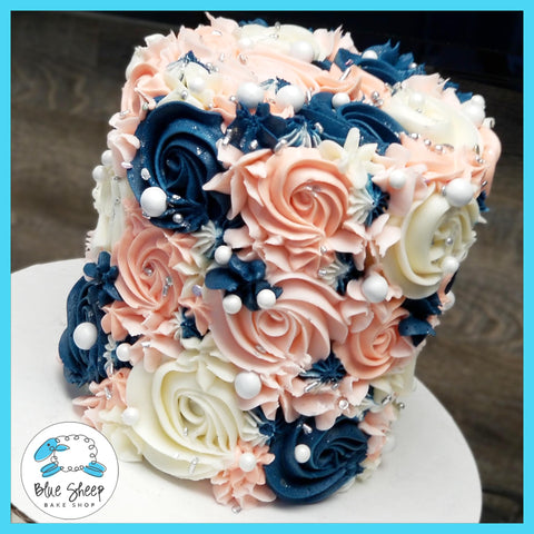Navy and Blush Buttercream Textures Cake - by Blue Sheep Bake Shop