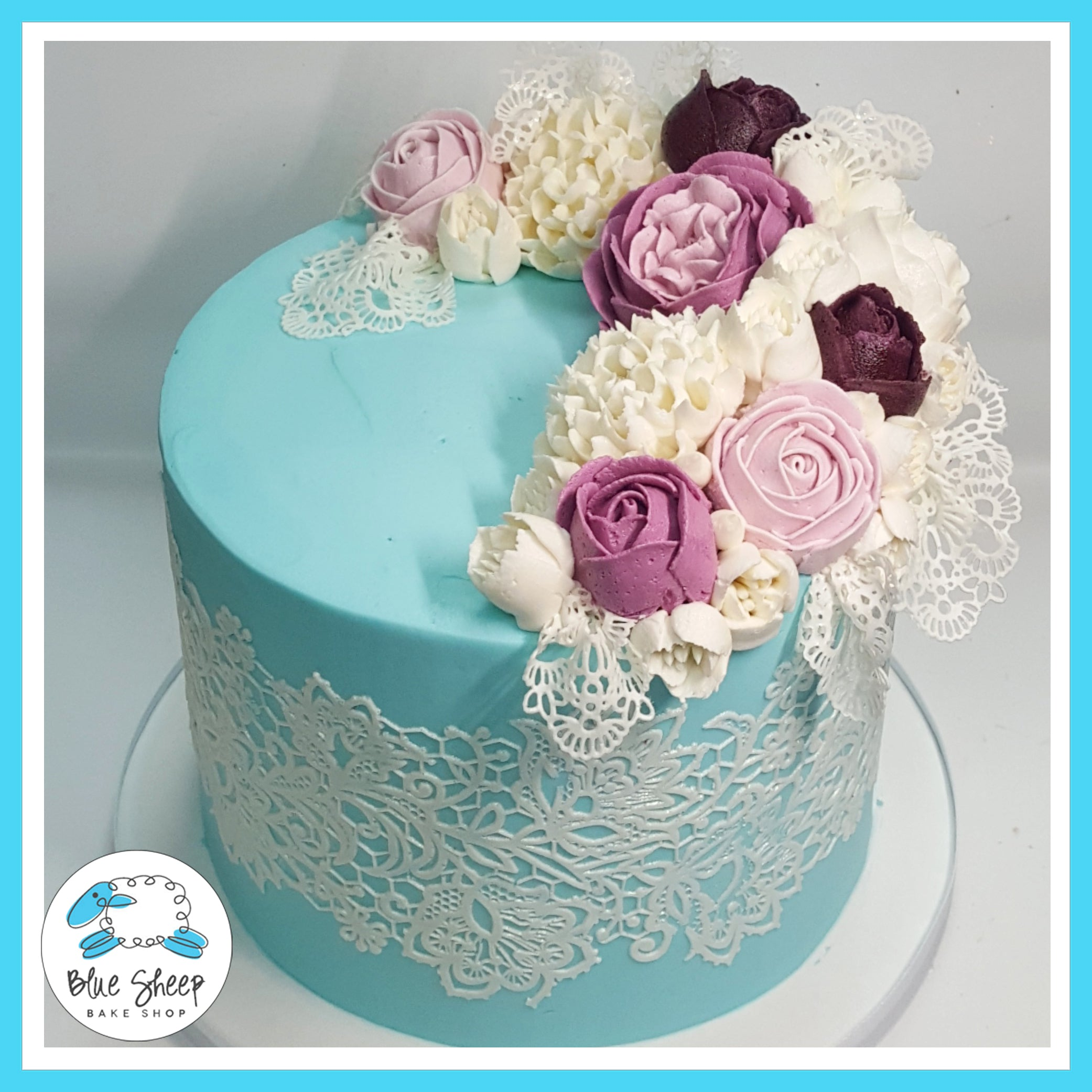 Vintage Buttercream Lace and Roses Custom Birthday Cake NJ