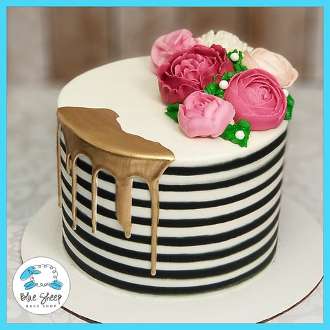Black and White Striped Buttercream Cake with Pink Flowers - Blue Sheep Bake Shop