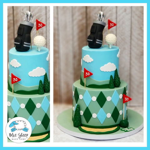 Tiered Golf Themed 30th Birthday Cake - Blue Sheep Bake Shop NJ