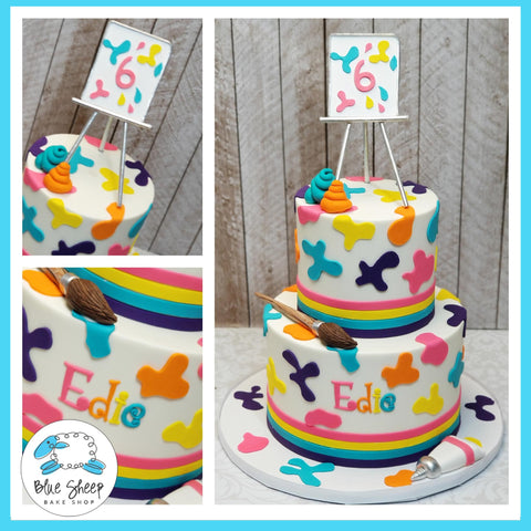 Tiered Buttercream Art Party Birthday Cake - by Blue Sheep Bake Shop