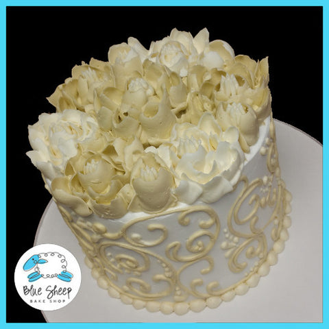 Ivory and White Floral Wedding Buttercream Cake
