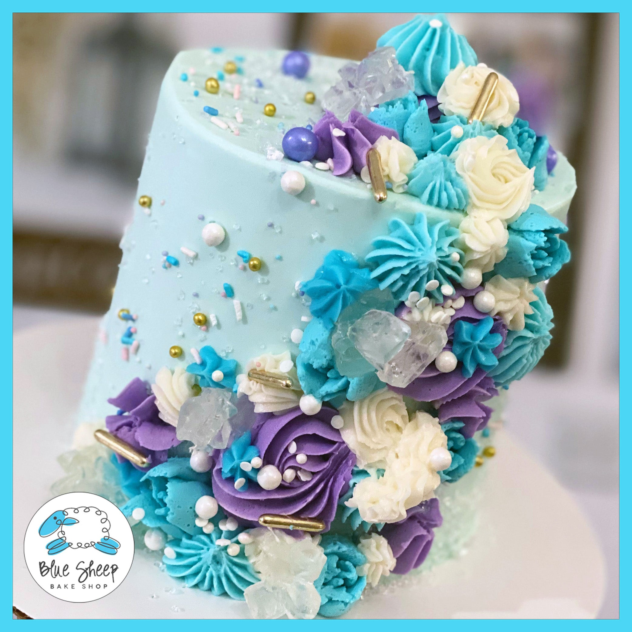 Tremendous Blue And Lavender Side Sweep Textures Cake Blue Sheep Bake Shop Funny Birthday Cards Online Elaedamsfinfo