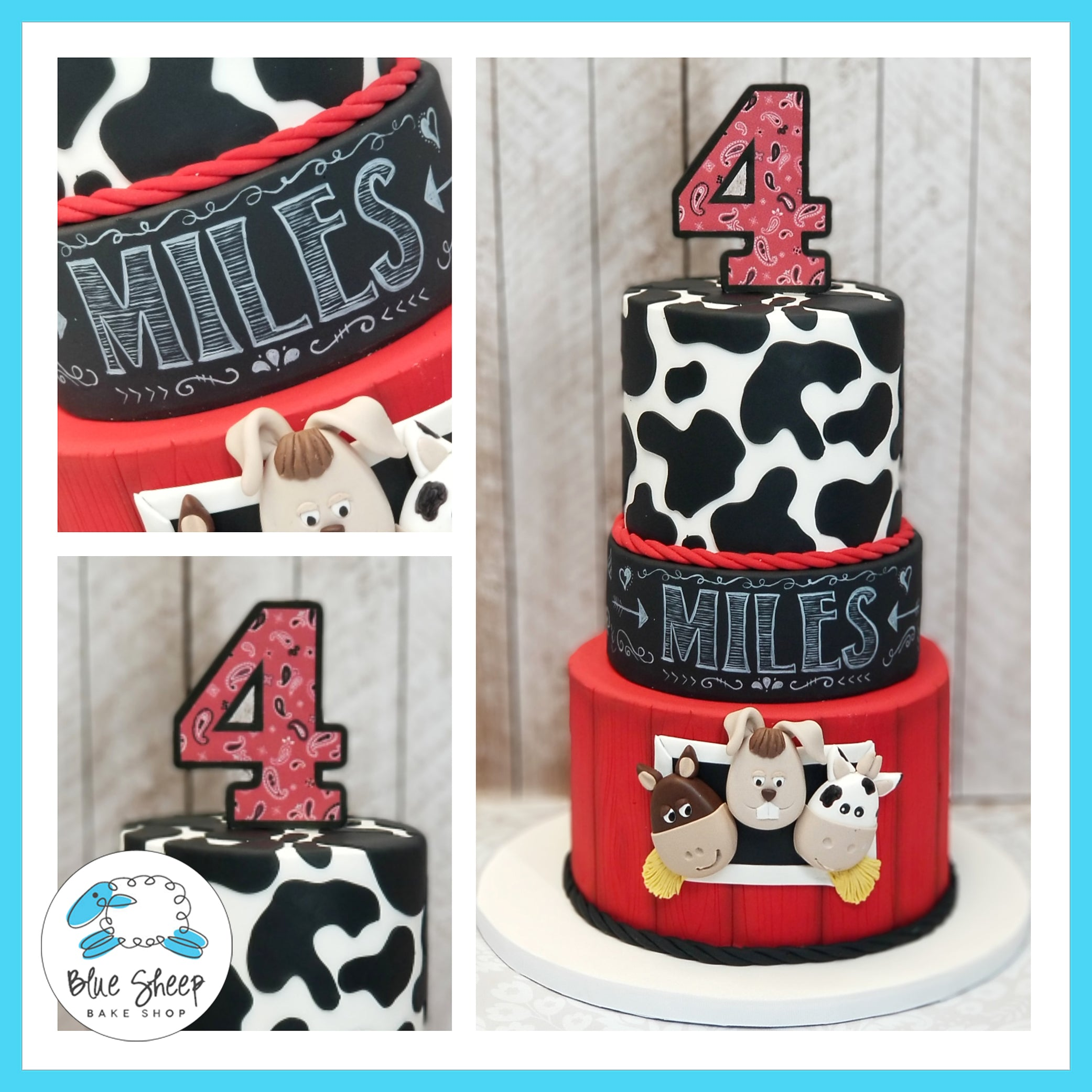 Remarkable Miles Barnyard 4Th Birthday Cake Nj Blue Sheep Bake Shop Funny Birthday Cards Online Sheoxdamsfinfo