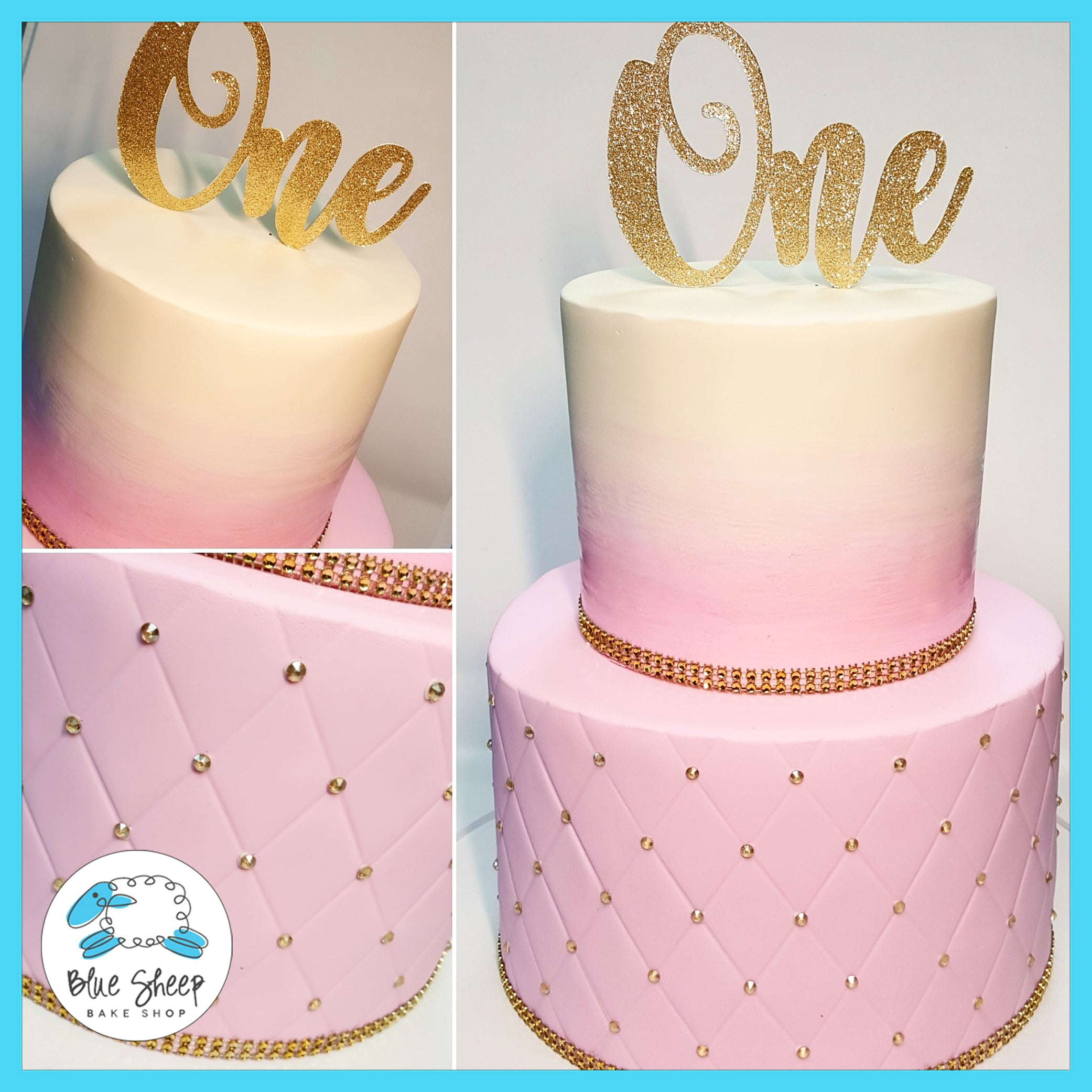 Pink Ombre Quilted Fondant 1st Birthday Cake Nj Blue Sheep Bake Shop