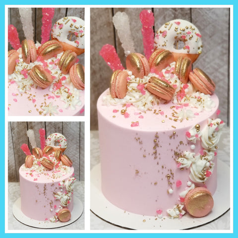 Pink and Gold Donut & Macaron Cake