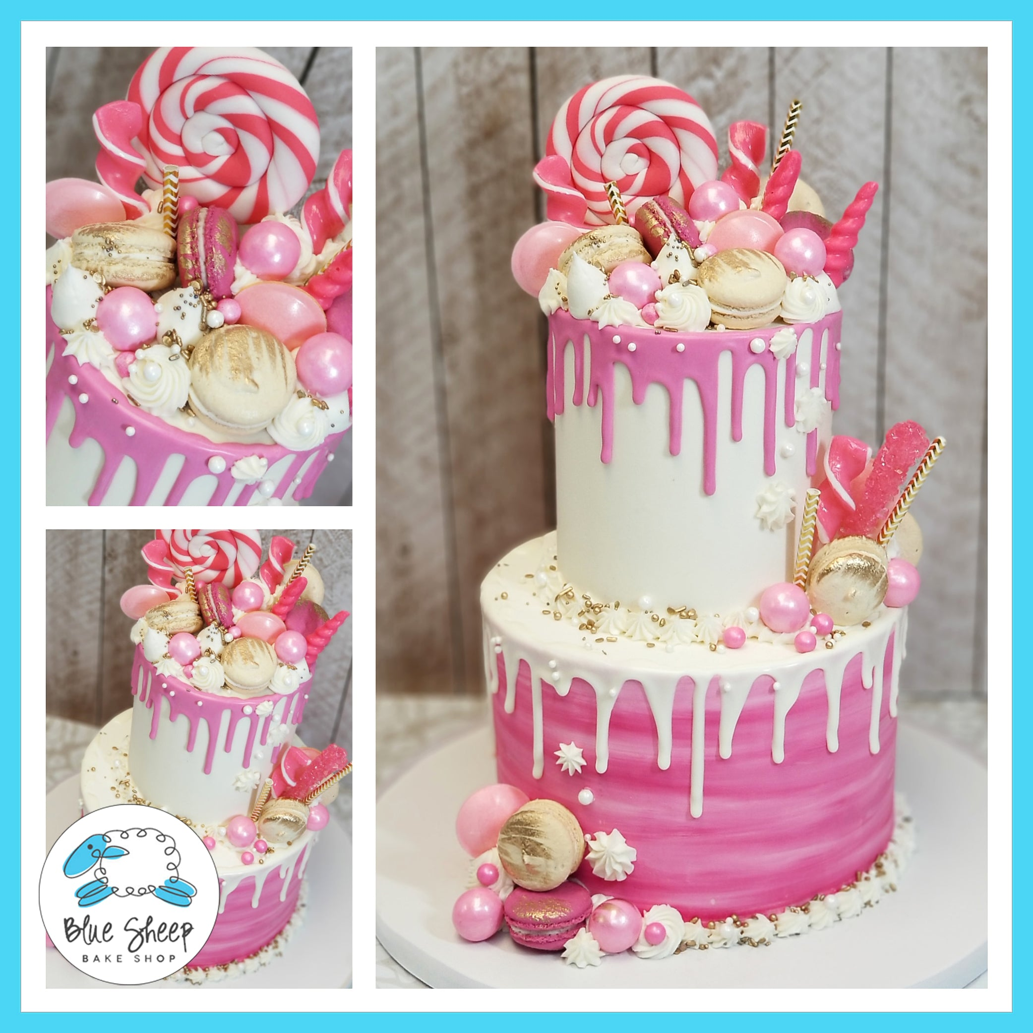 Pink And White Buttercream Drip Cake With Goodies Blue Sheep Bake Shop
