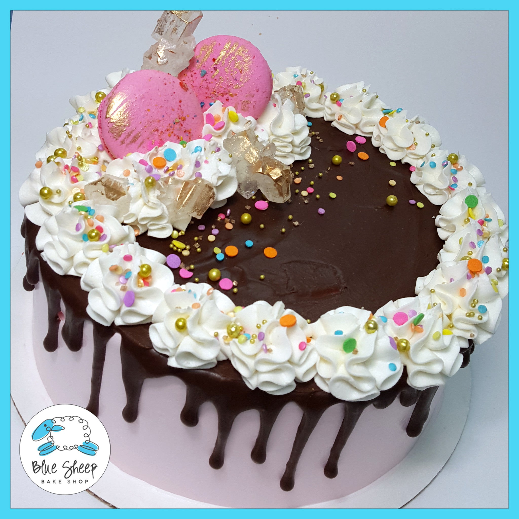Pink Confetti Ice Cream Cake Blue Sheep Bake Shop