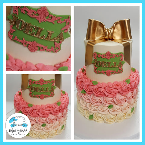 2 Tiered Pink & Gold Rosette Buttercream Baby Shower Cake NJ