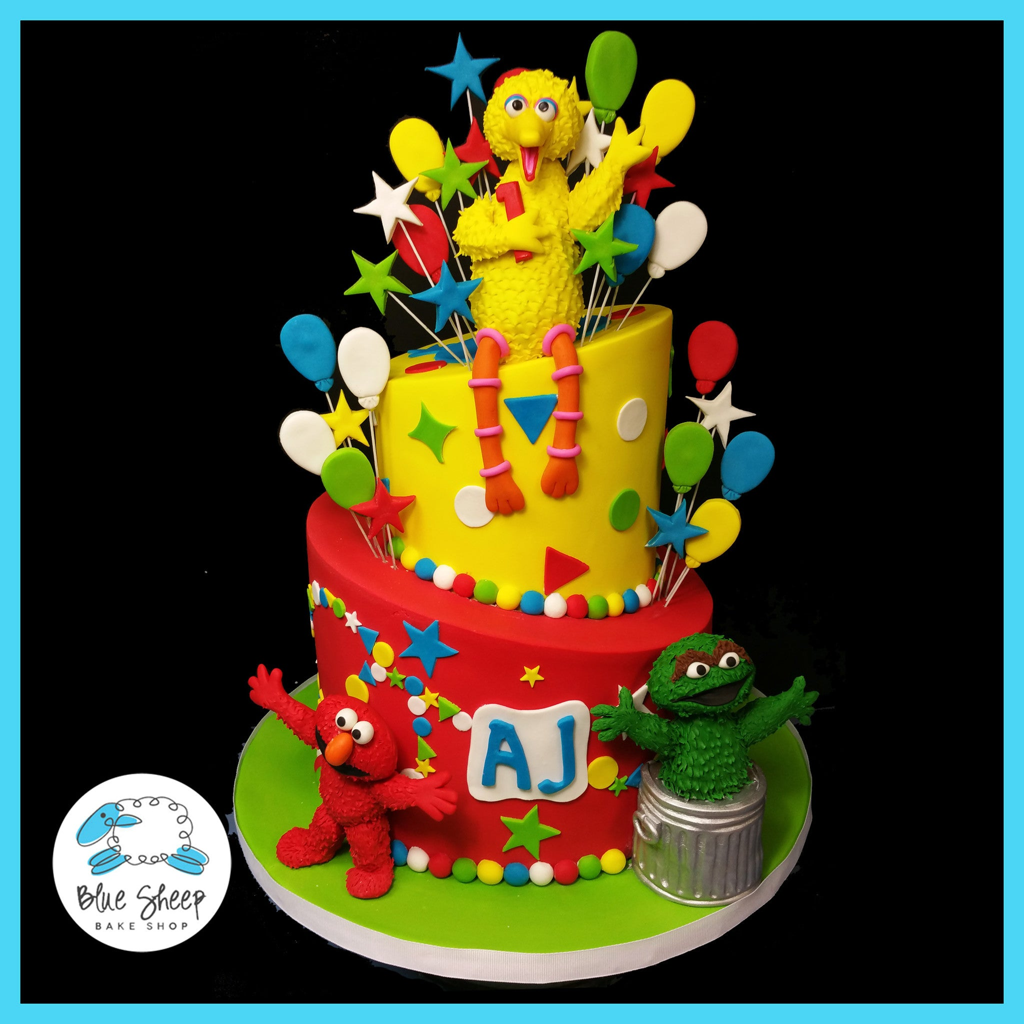 Miraculous Ajs Sesame Street 1St Birthday Cake Blue Sheep Bake Shop Personalised Birthday Cards Paralily Jamesorg