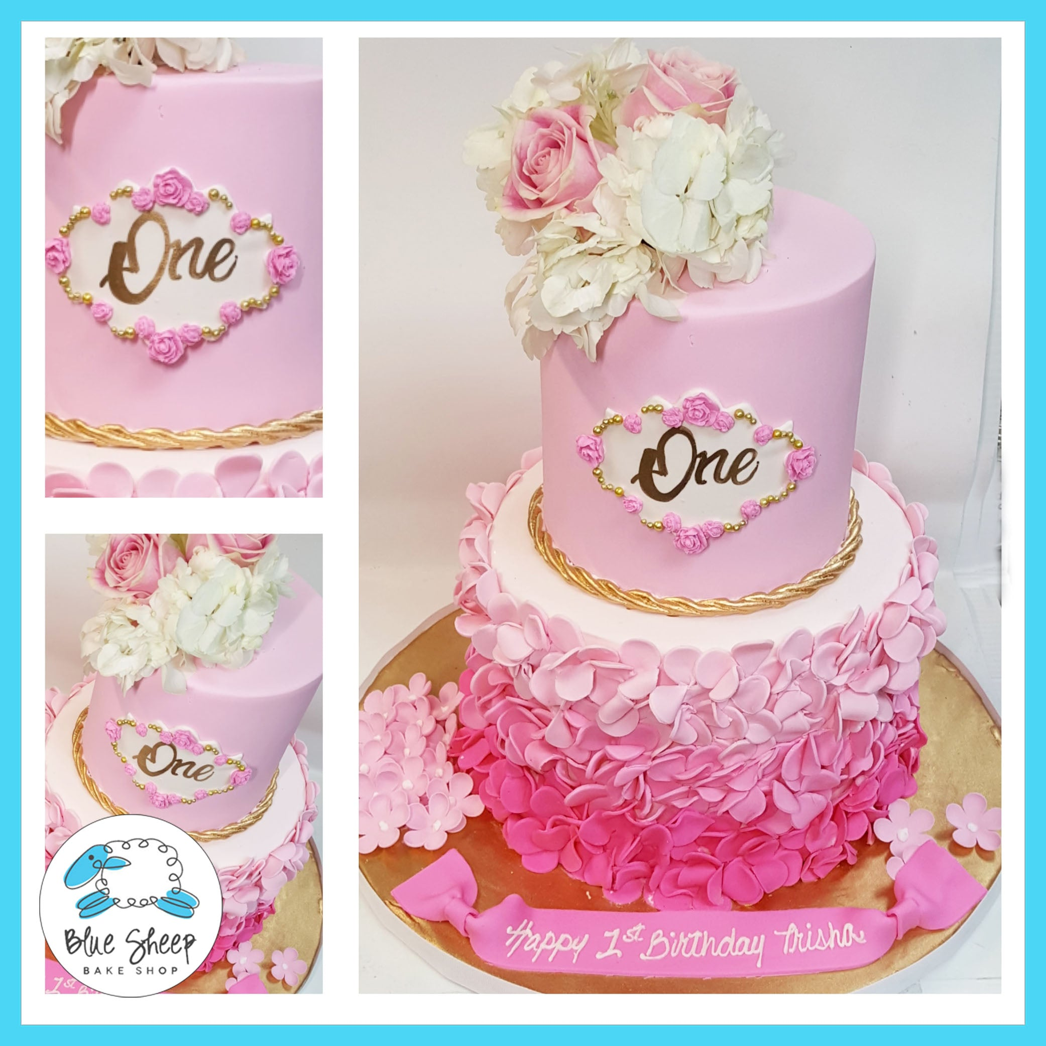 Tremendous Trishas Pink Petal 1St Birthday Cake Custom Cakes Nj Blue Sheep Funny Birthday Cards Online Elaedamsfinfo