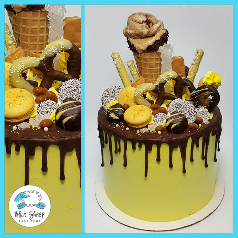 Yellow and chocolate drip ice cream cake nj