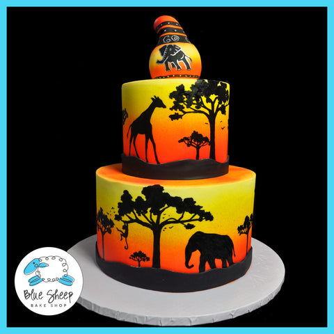 african safari birthday cake