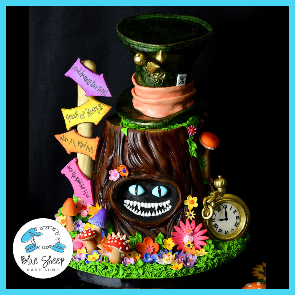 Alice in Wonderland Birthday Cake Cupcakes Blue Sheep Bake Shop