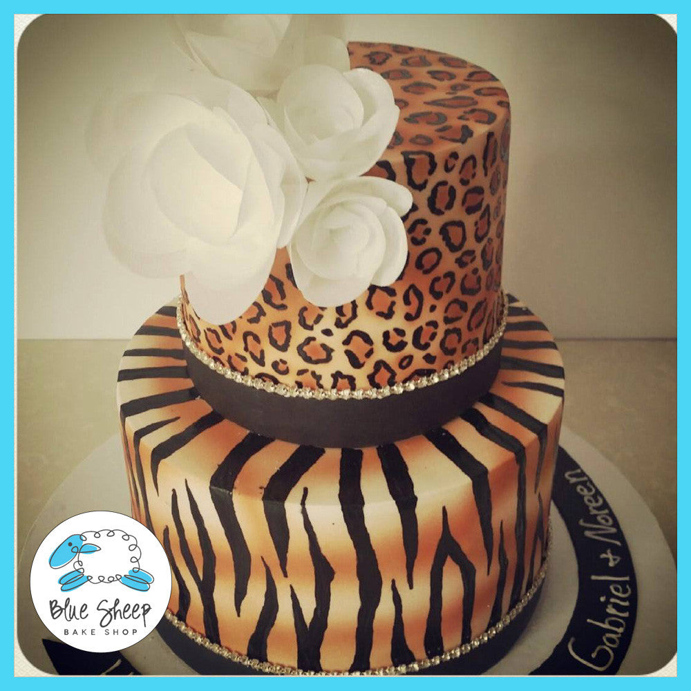 Awesome Animal Print Safari Birthday Cake Blue Sheep Bake Shop Funny Birthday Cards Online Elaedamsfinfo
