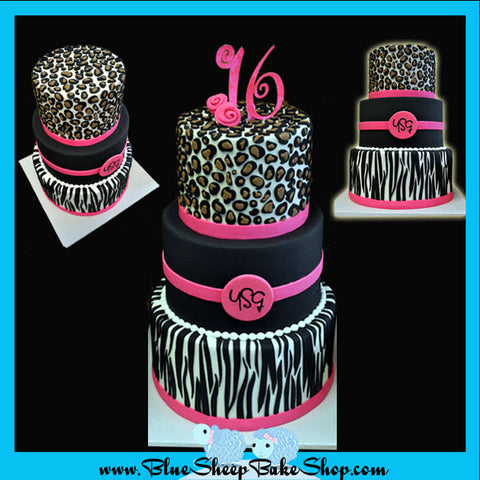 Animal Print Sweet 16 Custom Cake NJ, Zebra, Cheetah, and Hot Pink