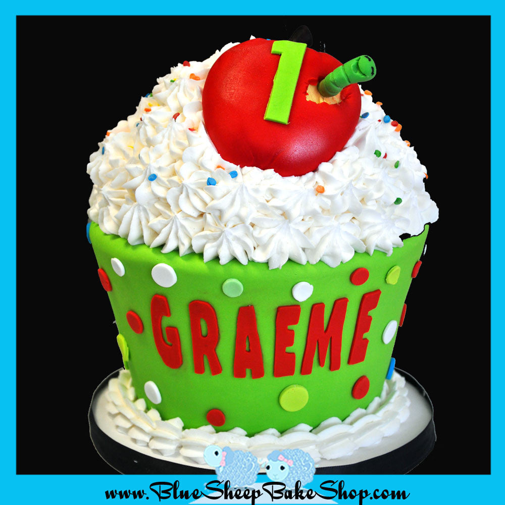 Apple Giant Cupcake Cake Blue Sheep Bake Shop