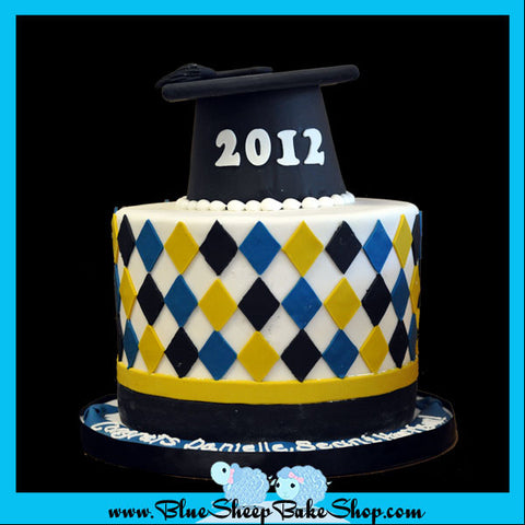 high school graduation cake argyle print