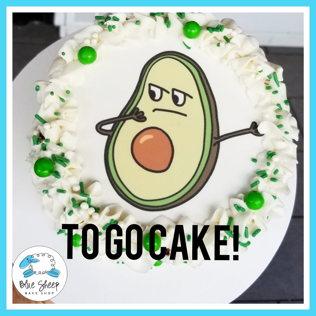 dabbing avocado birthday to go cake nj