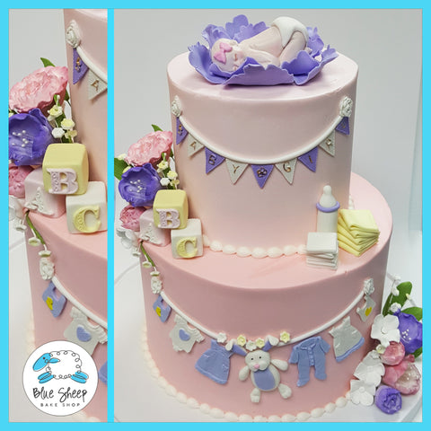 pink and lavender baby shower cake nj