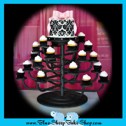 Pink and Black Damask Baby Shower Cupcake Tower
