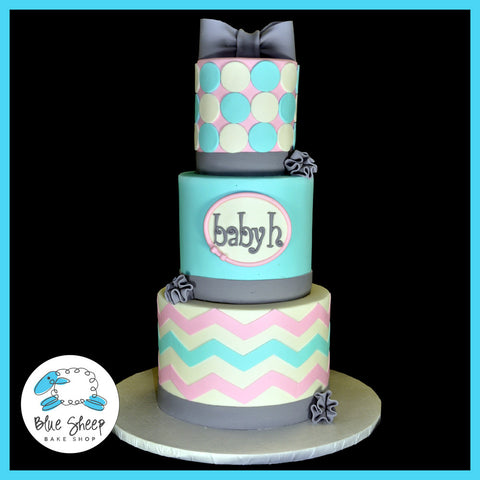chevron baby shower cake nj custom cake