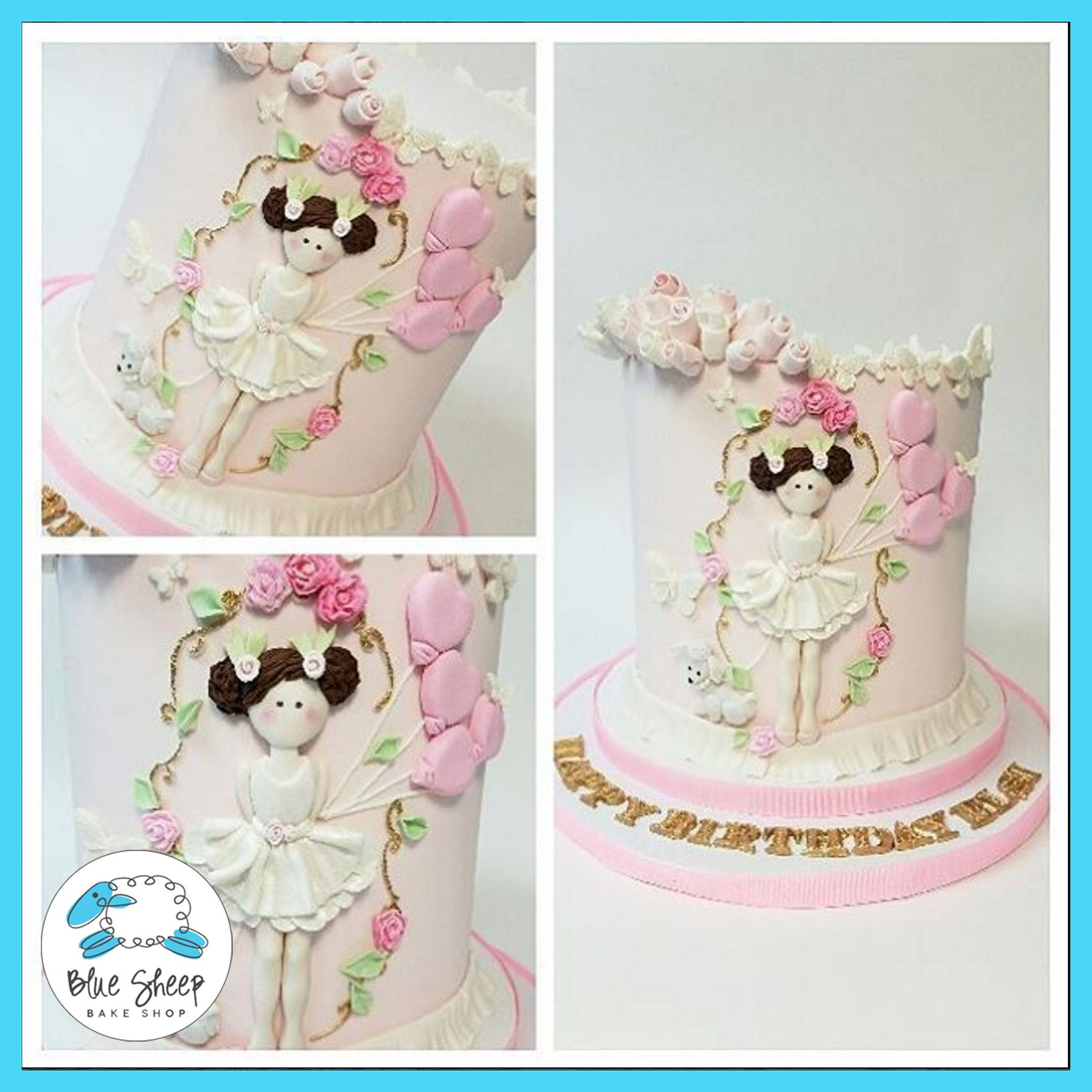 Ballerina Birthday 1st Birthday Cake II Blue Sheep Bake Shop