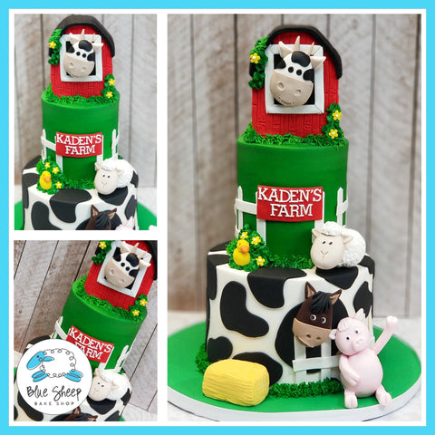 1st Birthday Barnyard Farm Cake - Blue Sheep Bake Shop