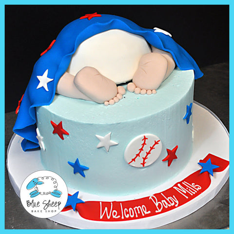 Buttercream Baseball Baby Shower Cake