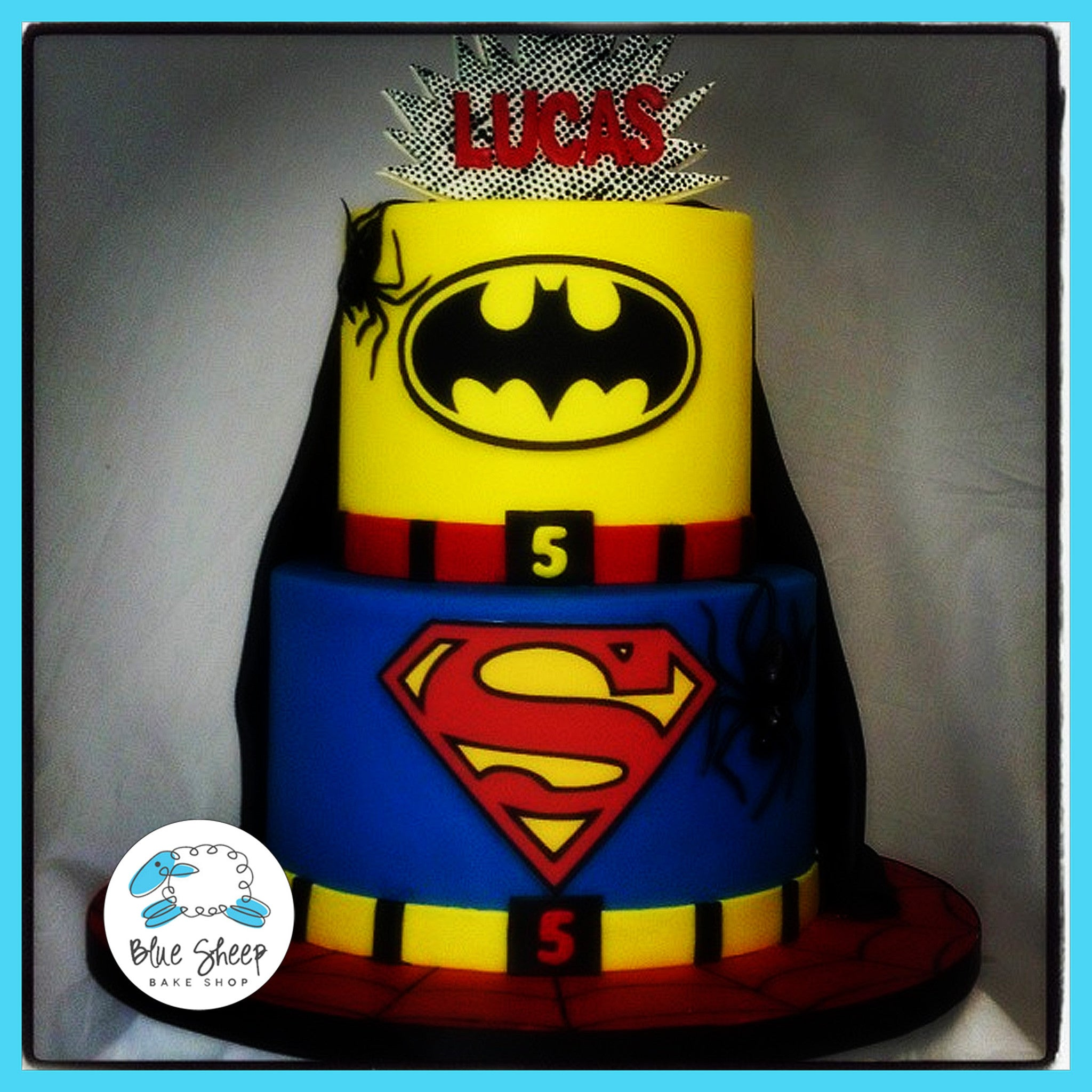 Amazing Superhero Birthday Cake With Batman Superman Blue Sheep Bake Shop Funny Birthday Cards Online Bapapcheapnameinfo