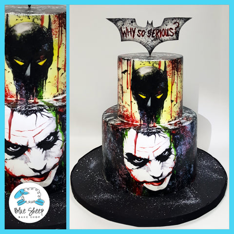 batman vs joker 50th birthday cake handpainted nj
