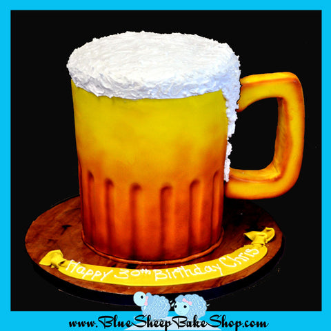 beer mug cake 30th birthday grooms cake