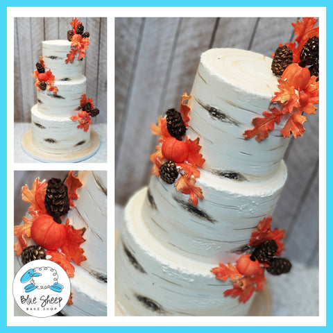 Buttercream Birch  Wedding Cake with Fall Leaves