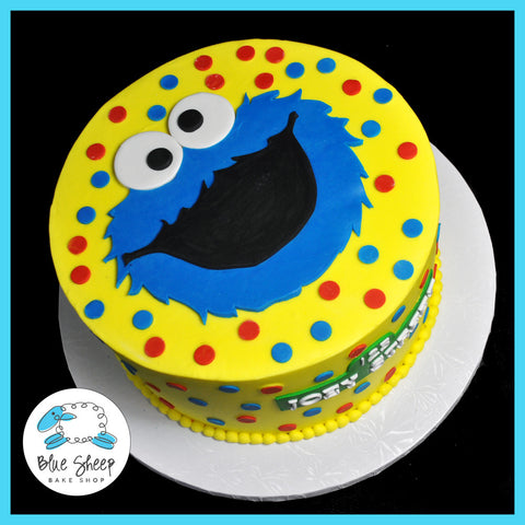 Cookie Monster Buttercream Birthday Cake