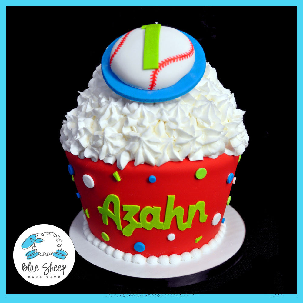 Baseball 1st Birthday Giant Cupcake Cake Blue Sheep Bake Shop