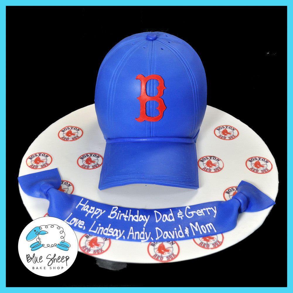 Outstanding Red Sox Baseball Cap Birthday Cake Blue Sheep Bake Shop Personalised Birthday Cards Paralily Jamesorg