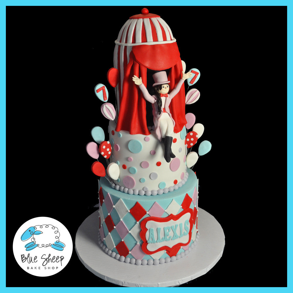 vintage circus birthday cake side view