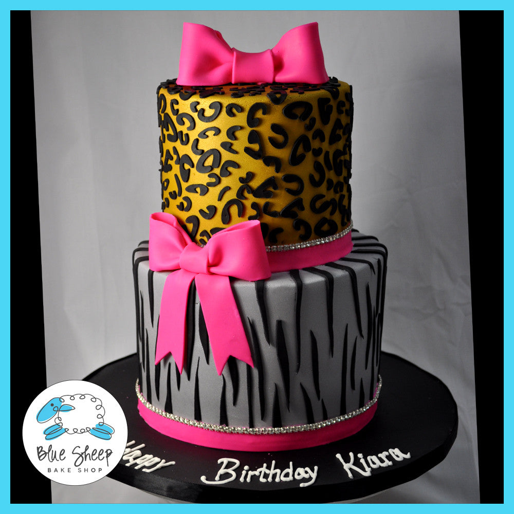 Admirable Birthday Cake With Animal Print Blue Sheep Bake Shop Funny Birthday Cards Online Overcheapnameinfo