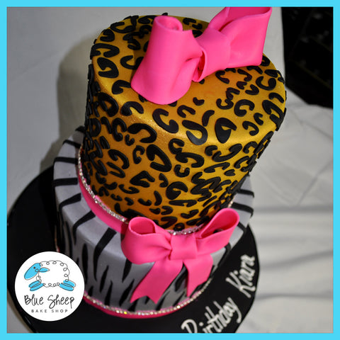 Birthday Cake with Animal Print Blue Sheep Bake Shop