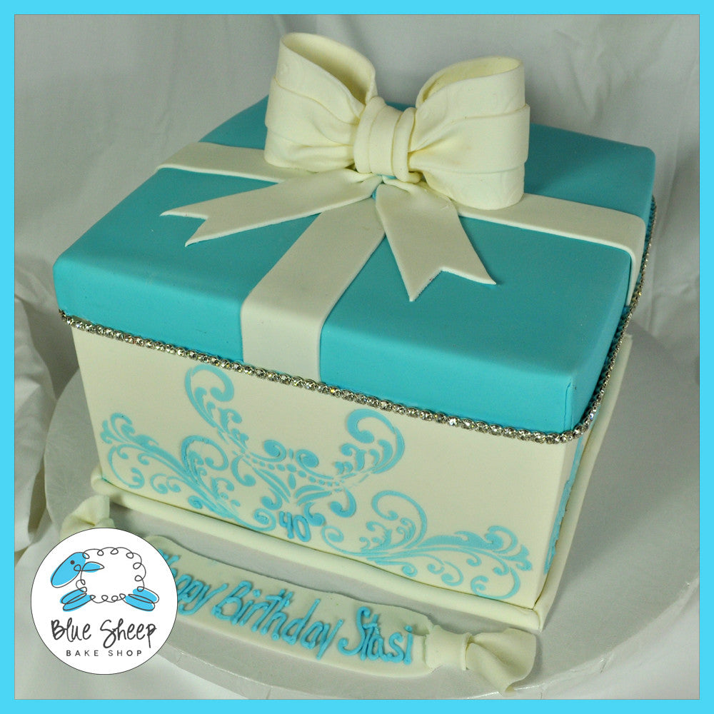 blue and white gift box birthday cake with bling