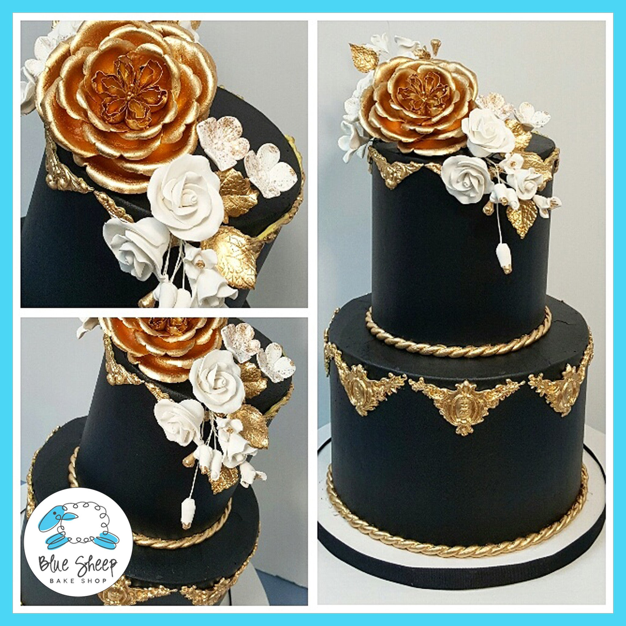 Black and Gold Buttercream Wedding Cake NJ | Blue Sheep Bake Shop