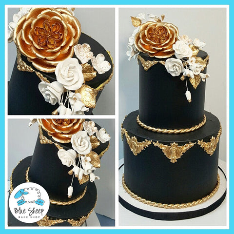 best black and gold wedding cakes nj