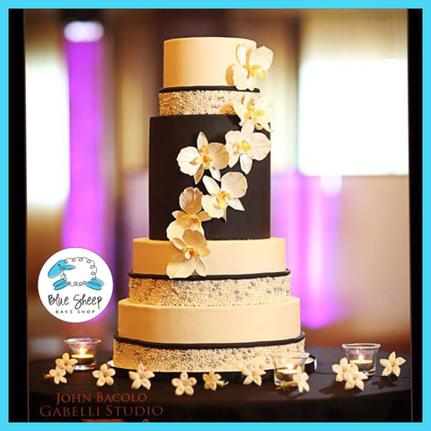 black and ivory wedding cake nj