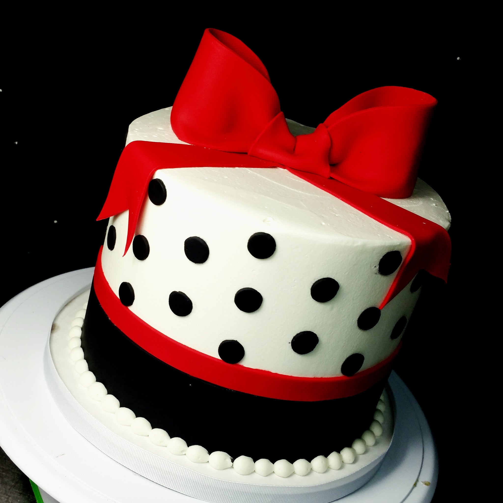 Marvelous Buttercream Black And Red Polka Dot Cake Blue Sheep Bake Shop Funny Birthday Cards Online Inifodamsfinfo